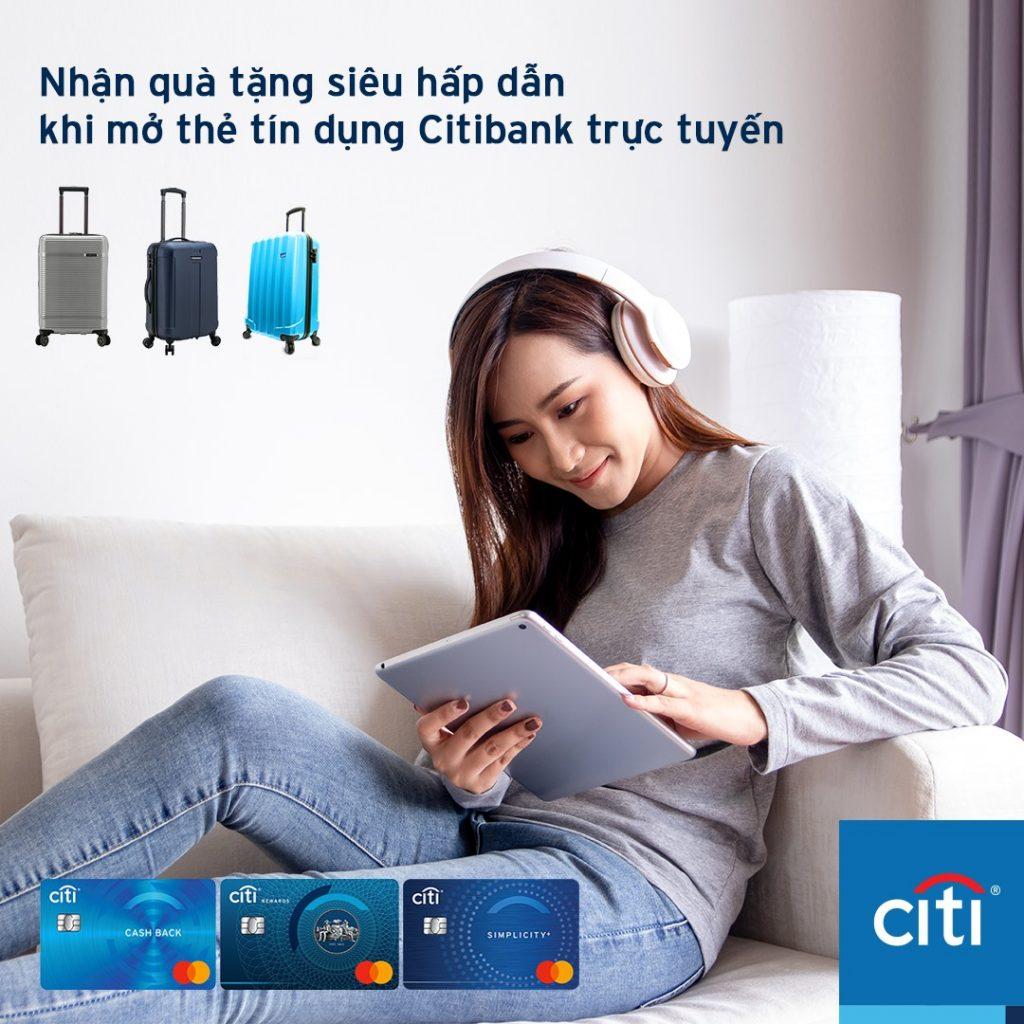 Tặng Vali khi mở thẻ tín dụng Citibank