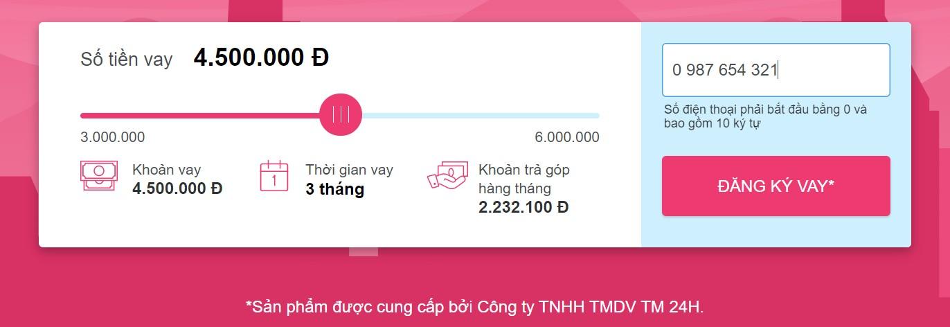 Bước 2: Chọn số tiền muốn vay ATM Online