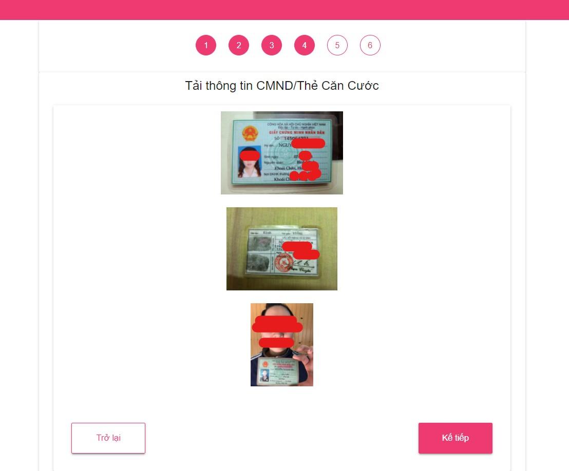 Bước 6: Gửi ảnh CMND lên ATM Online