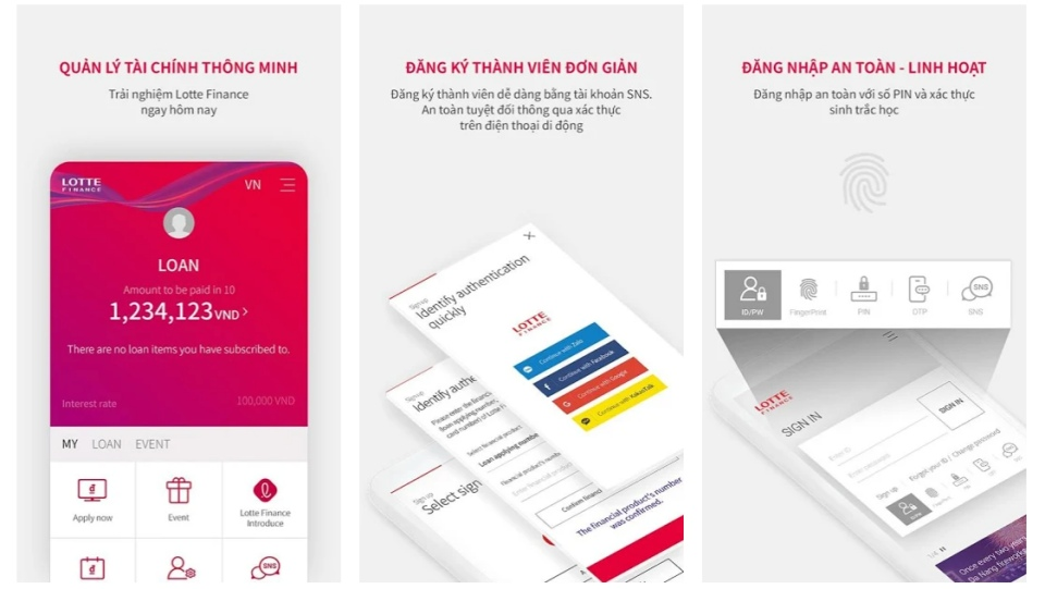 Ứng dụng Lotte Finance trên điện thoại