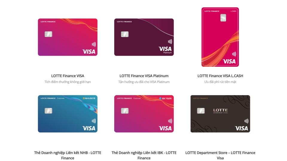 Danh sách thẻ tín dụng Lotte Finance